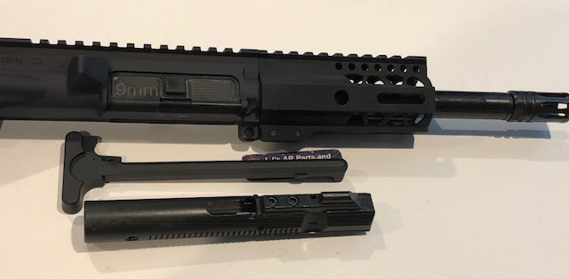 AR9 - 9 mm complete 7 5 inch upper receiver- with hybrid BCG and charging  handle