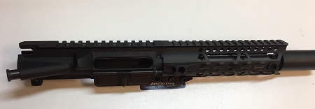 LJ's AR15 9mm upper receiver billet 7 5 inch upper receiver - 7 inch ultra  slim dragon breath rail and cone muzzle brake- 7 5 inch QpQ nitride barrel