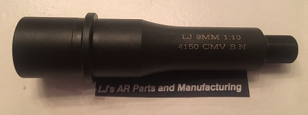 LJ's AR15- 4 inch Nitride 4150V 9MM barrel - AR9 - FOR GLOCK OR STEN MAG  PISTOLS