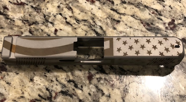 Glock 17 Stainless Steel custom USA flag slide with CNC cut serrations GEN  3 or 4