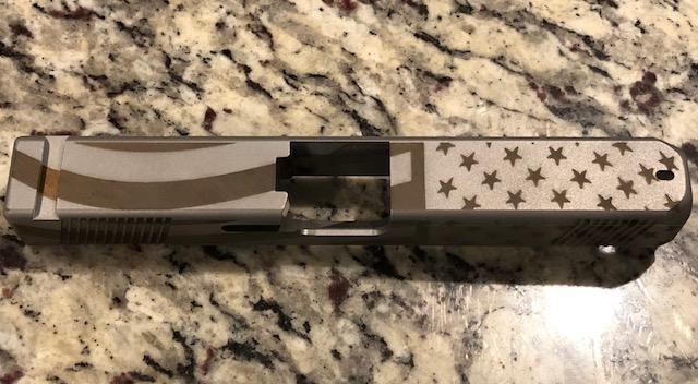 Glock 17 Stainless Steel Custom Usa Flag Slide With Cnc Cut