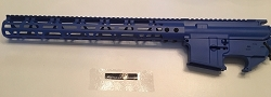 BLUE - Complete upper 15 inch MLOK rail and lower 80% set - AR15 .