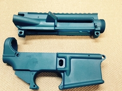 AR15 - BLUE  80% lower and stripped upper receiver- AR15 7075 80% lower