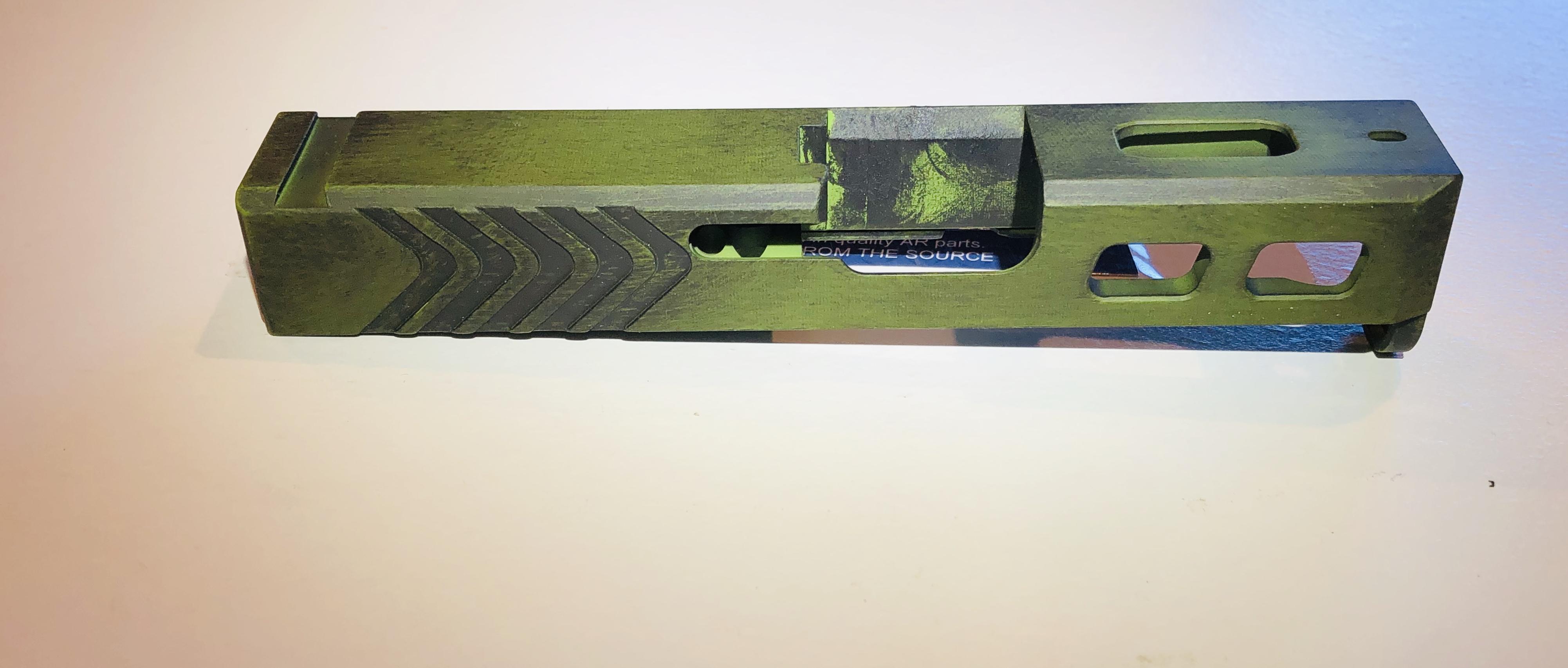 Glock 26 custom slide -Zombie green and battle worn black in color- fits  gen 1-4