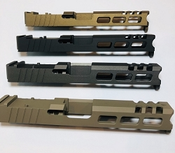 GLOCK 17 - 9mm CUSTOM SLIDE WITH RMR CUT OUT AND CUSTOM CUT OUTS- GEN 3 - fits gen 1,2,3 and also 4 with guide rod slide adaptor.  - NEW DESIGN -TRIJICON, VORTEX, VIPER, VENOM , BURRIS FAST FIRE