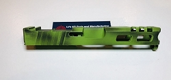 GLOCK 19 - 9mm CUSTOM SLIDE WITH RMR CUT OUT AND CUSTOM CUT OUTS- GEN 3- Custom done in Zombie green and black