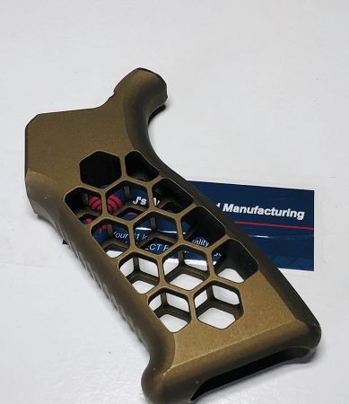 AR15 or AR10 Skeletonized Gen 2 aluminum Grip- honeycomb style done in  anodized burnt Bronze