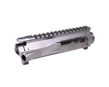 Nickel Billet upper and 15 inch ultra slim key hand guard in Nickel finish-  Nickel in color