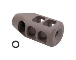 AR15- Tank muzzle brake 1/2x28 thread pattern  done in Flat dark earth