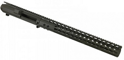 AR10 / 308 Billet stripped upper and 15 inch slim key mod rail in OD green