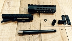 SALE: 8 inch complete upper build kit with match grade MELONITE/ NITRIDE 4150V 300 AAC black out barrel WITH 7 inch Key mod hand guard-minus BCG and charging handle