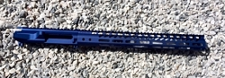 Blue Billet upper and 15 inch ultra slim MLOK hand guard- BLUE in color
