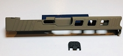 GLOCK 17 CUSTOM SLIDE WITH RMR CUT OUT AND CUSTOM CUT OUTS- GEN 3- Flat dark earth - FDE
