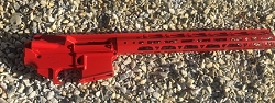 RED - Complete upper 15 inch MLOK rail and lower 80% set - AR15
