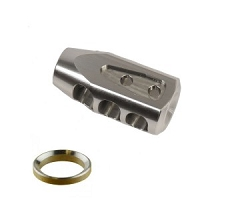 Stainless steel 5/8x24 Tank multi port competition muzzle brake w/ stainless crush washer