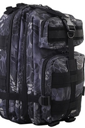 Typhon kryptic pattern Molle Tactical 3-Pocket Hydration Assault Backpack Bag Black Camo