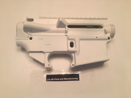 LJ's Parts AR15 WHITE 80% lower and stripped upper receiver- AR15 7075 80%  lower