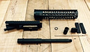 10.5 inch complete upper build kit with match grade chrome moly 4150V 300 AAC black out barrel WITH 10 inch Key mod hand guard-minus BCG and charging handle