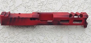 GLOCK 19 - 9mm CUSTOM SLIDE WITH RMR CUT OUT AND CUSTOM CUT OUTS- GEN 3- Custom done in Black and RED