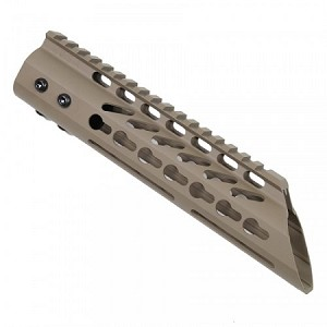 "9"" ULTRA LIGHTWEIGHT THIN KEY MOD FREE FLOATING HANDGUARD WITH SLANT NOSE (FLAT DARK EARTH)"