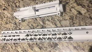 Patriot White Billet upper and 15 inch ultra slim 1/4 lightweight key mod hand guard- Patriot white in color